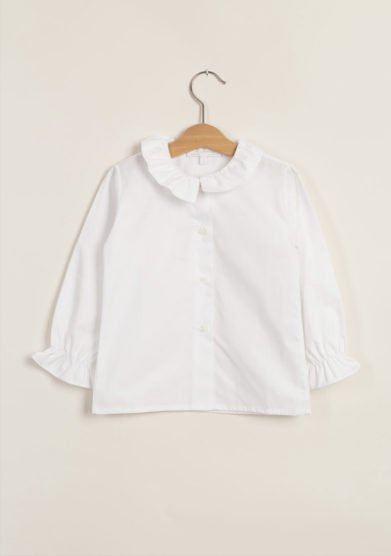 Blusa in cotone collo con rouches