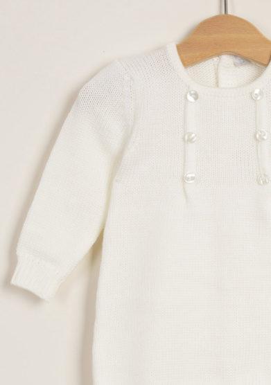 TROTTOLINI - Tutina bianca in lana con bottoncini