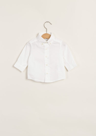 Camicia neonato in cotone con collo button-down