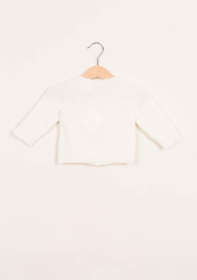 Cardigan neonato in cashmere crema
