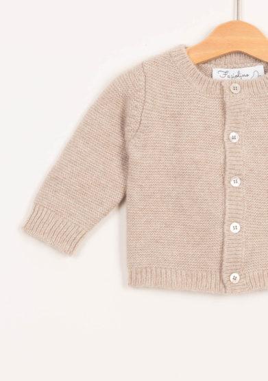 Cardigan neonato in cashmere beige
