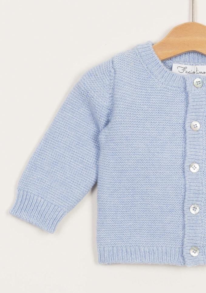 Cardigan neonato in cashmere azzurro