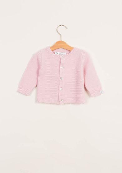 Cardigan neonato in cashmere rosa