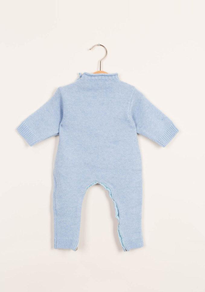 Tutina neonato azzurra in cashmere