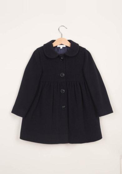 Cappotto bambina in lana con taglio in vita