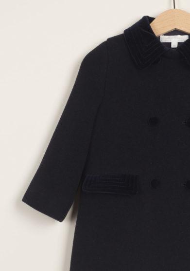 Cappotto doppiopetto in lana con dettagli in velluto
