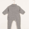 Tutina neonato grigia in cashmere