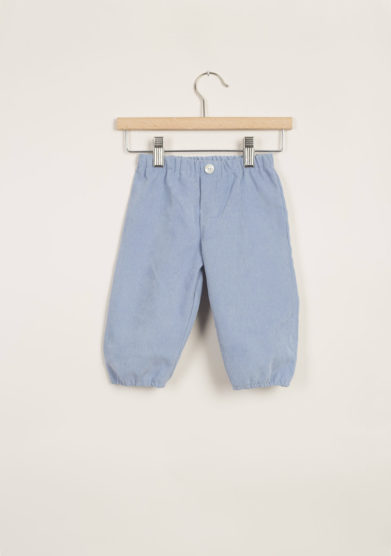 Pantaloni bebè in velluto azzurro