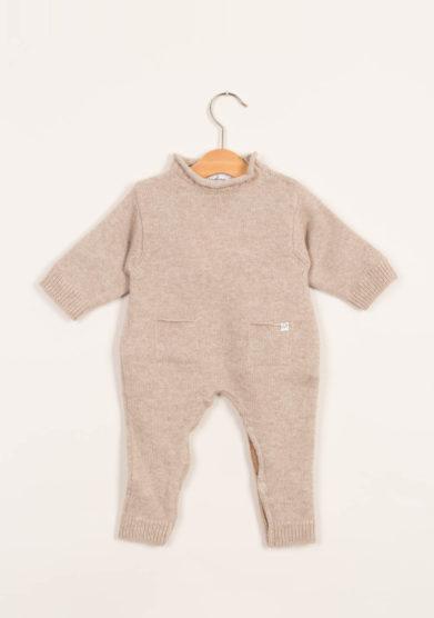 Tutina neonato beige in cashmere