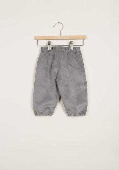 Pantaloni bebè in velluto grigio