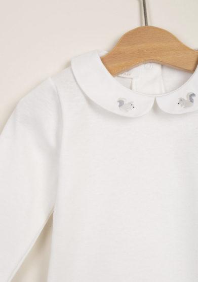 Body bebè in cotone con colletto ricamo scoiattolo