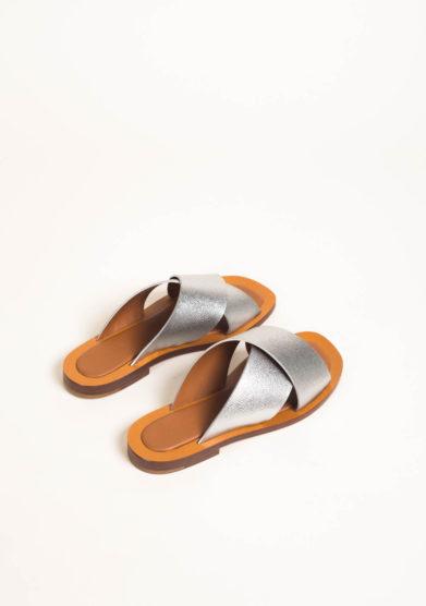 Sandali in pelle metalizzata