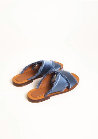 Sandali in raso blu Capri