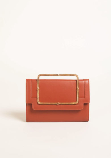 Clutch in nappa ruggine