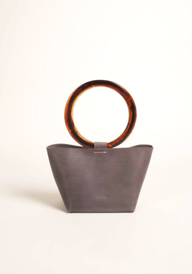 Ring bag in pelle grigia