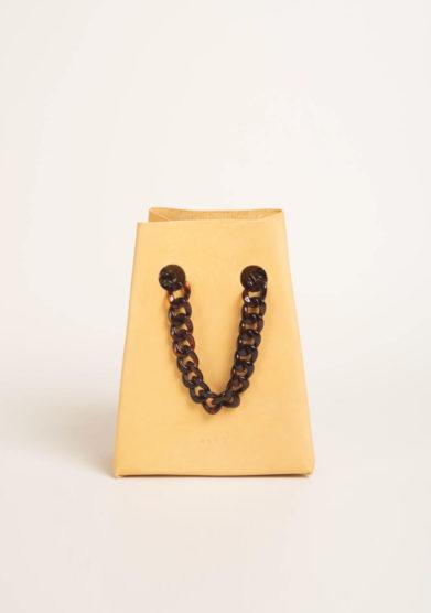Chain bag in pelle burro