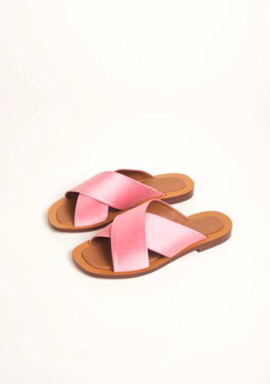 Sandali in raso rosa