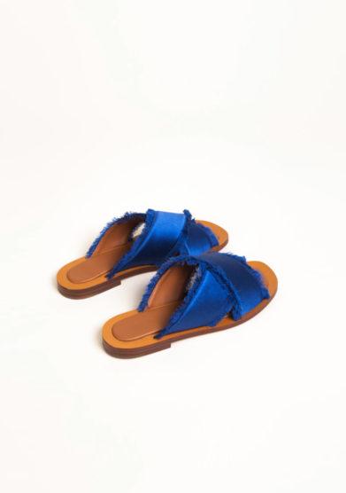 Sandali in raso blu Mediterraneo