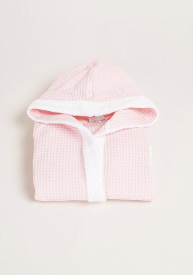 Accappatoio bambina in puro cotone a nido d'ape rosa