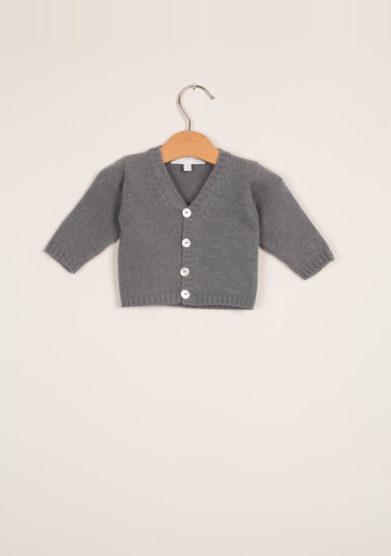 M. FERRARI - Cardigan neonato in lana grigio