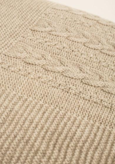 Coperta in puro cashmere tricot color tortora