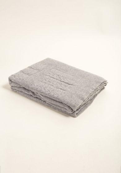 Coperta in puro cashmere tricot grigio