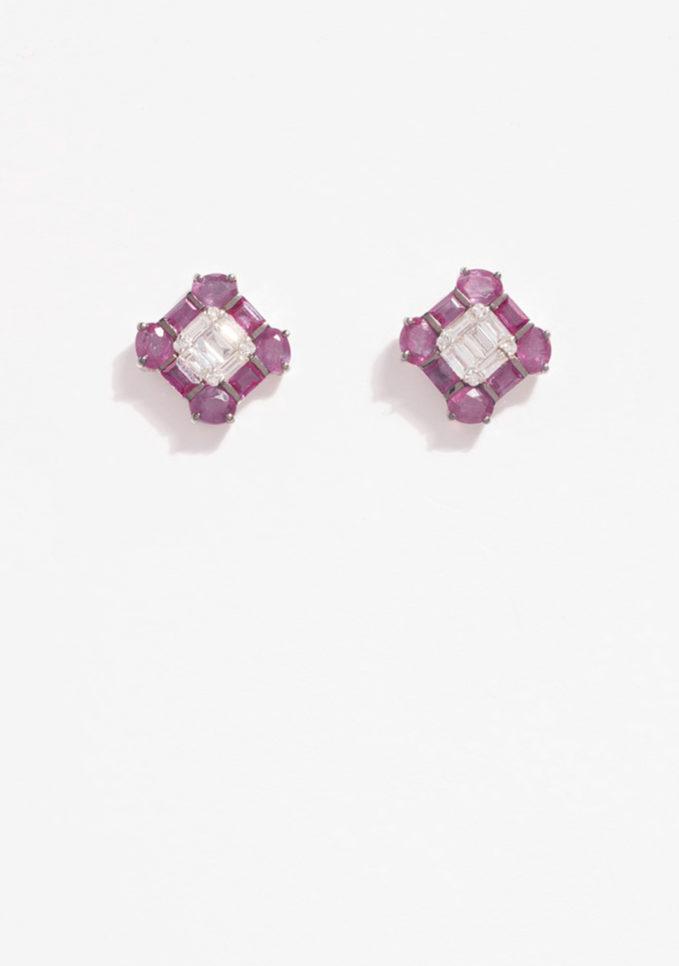 GOLD FOR EVER - Orecchini in oro bianco con diamanti e rubini