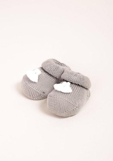 GALLO- Scarpine neonato in cotone grigio