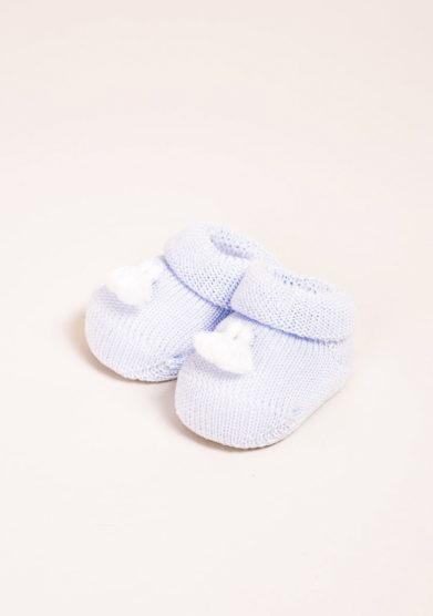 GALLO- Scarpine neonato in cotone azzurro