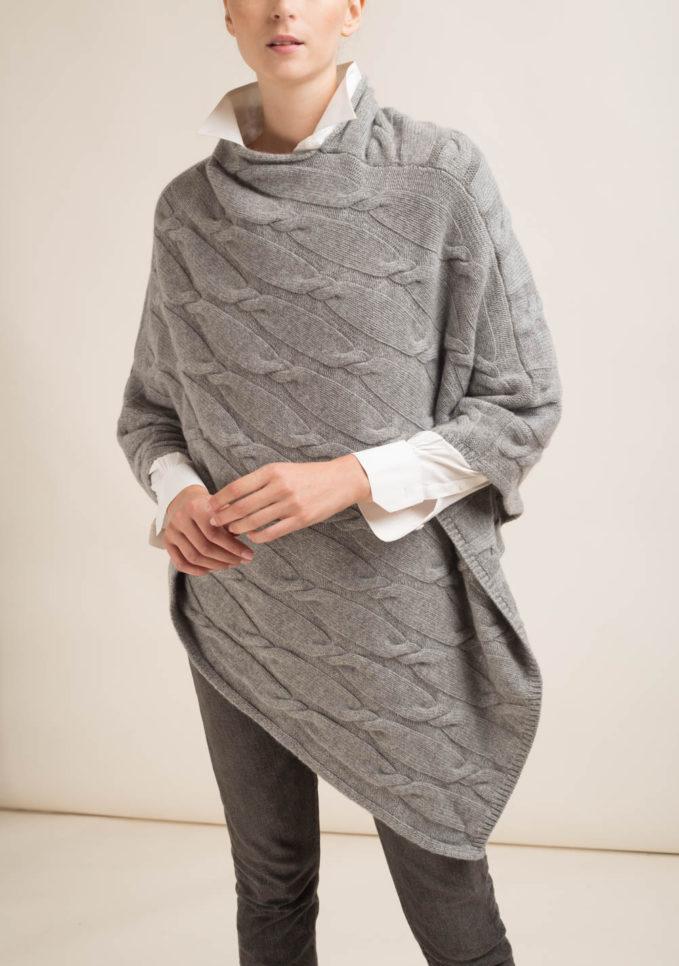 FAGIOLINO CASHMERE - Mantella in cashmere grigio