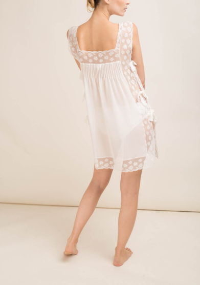 LORETTA CAPONI - Camicia da notte corta in seta con fiocchi laterali