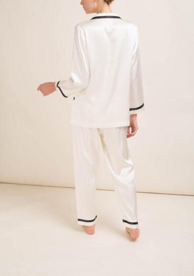 LORETTA CAPONI - Completo pigiama in seta bianca
