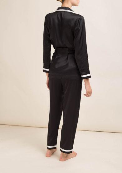 LORETTA CAPONI - Completo pigiama in seta nera
