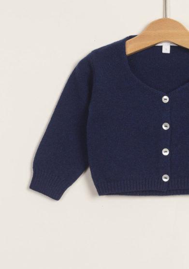 M. FERRARI - Cardigan scaldacuore in lana merinos blu