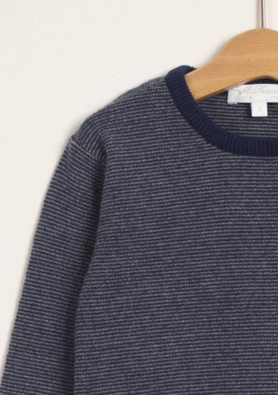 M. FERRARI - Pullover a righe in lana merinos con fasce a contrasto