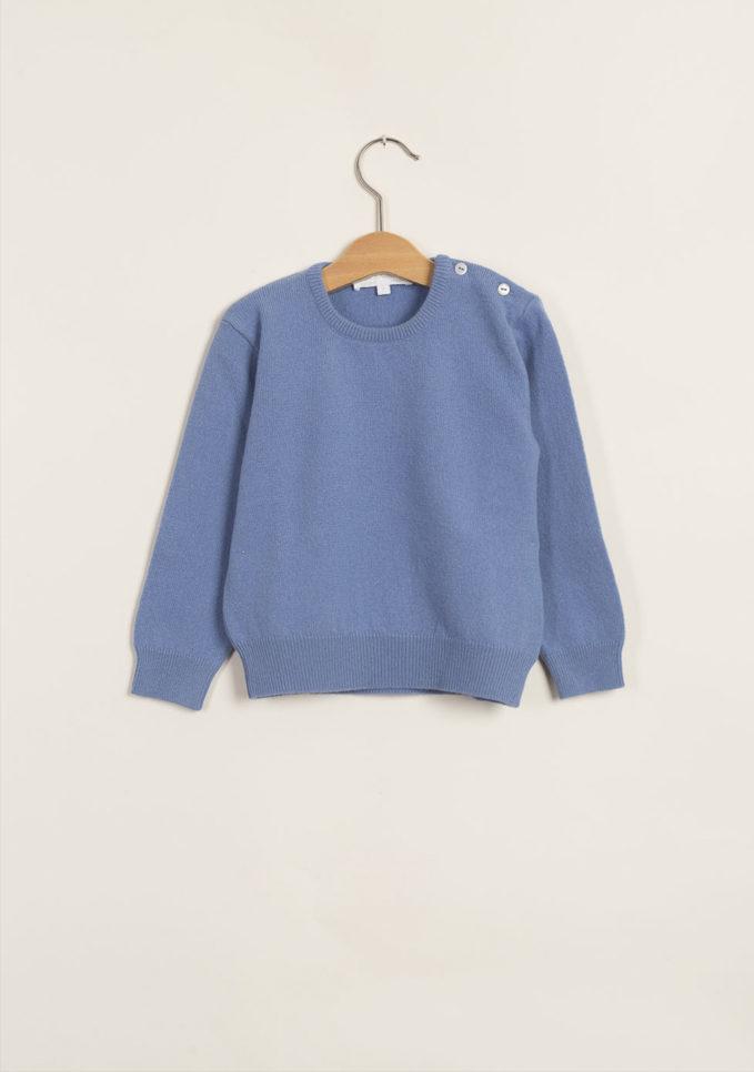 M. FERRARI - Pullover celeste in lana merinos