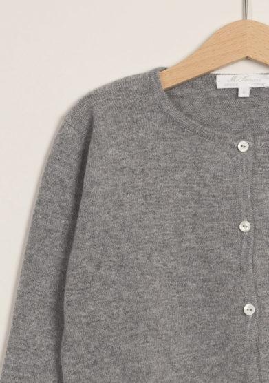 M. FERRARI - Cardigan in lana merinos grigio