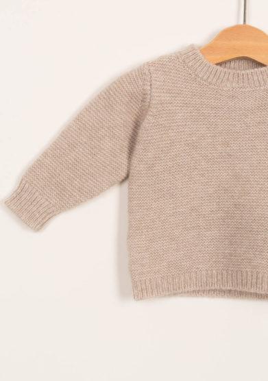 FAGIOLINO CASHMERE- Pullover neonato in cashmere beige