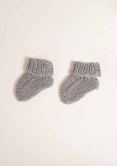 FAGIOLINO CASHMERE - Scarpine neonato in cashmere grigio