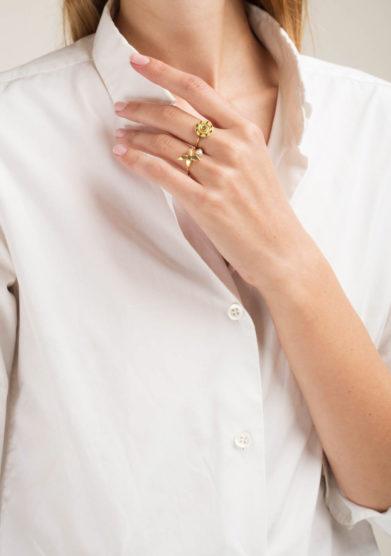 ANSUINI - Anello in oro con agata naturale