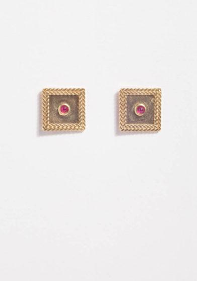 ANSUINI - Orecchini quadrati in oro con rubini