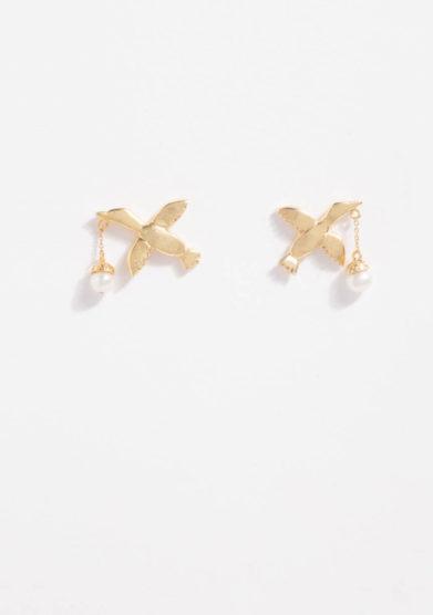 ANSUINI - Orecchini cicogna in oro con perle naturali
