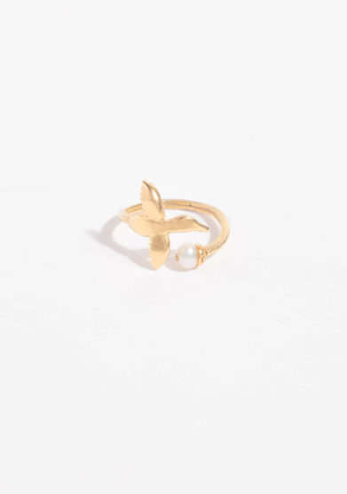ANSUINI - Anello cicogna in oro con perla naturale