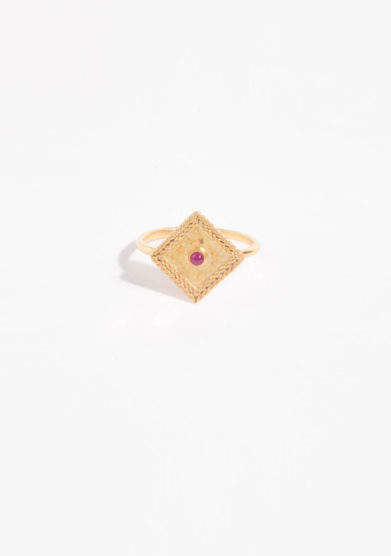 ANSUINI - Anello a rombo in oro con rubino