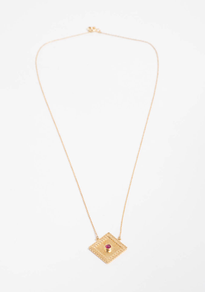 ANSUINI - Collana a rombo grande in oro con rubino