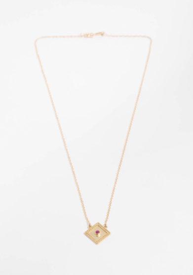 ANSUINI - Collana a rombo piccolo in oro con rubino