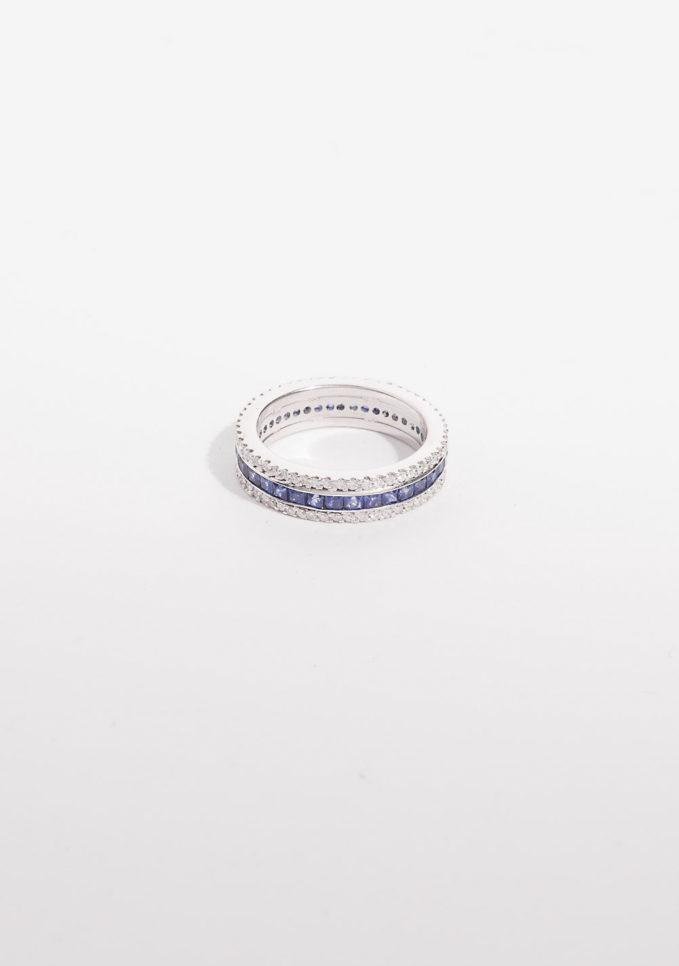 GOLD FOR EVER - Anello a fascia in oro con diamanti e zaffiri blu