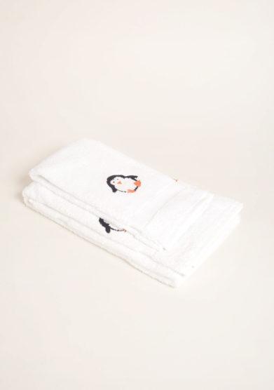 BUSATTI - Coppia di spugne in puro cotone ricamo pinguino