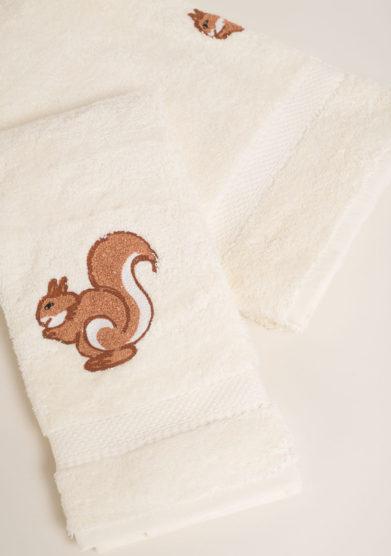 BUSATTI - Coppia di spugne in puro cotone ricamo scoiattolo