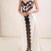 LORETTA CAPONI - Camicia da notte lunga in raso di seta con spacco centrale